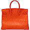 Orange-replica-hermes-birkin-35cm-ostrich-silver-metal